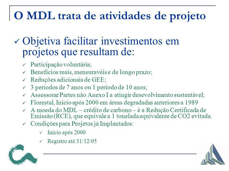 O MDL trata de atividades de projeto Objetiva facilitar investimentos em projetos que resultam de: Participação voluntária; Benefícios reais, mensuravéis e de longo prazo; Reduções adicionais de GEE; 3 períodos de 7 anos ou 1 período de 10 anos; Assessorar Partes não Anexo I a atingir desevolvimento sustentável; Florestal, Início após 2000 em áreas degradadas anteriores a 1989 A moeda do MDL – crédito de carbono – é a Redução Certificada de Emissão (RCE), que equivale a 1 tonelada equivalente de CO2 evitada.