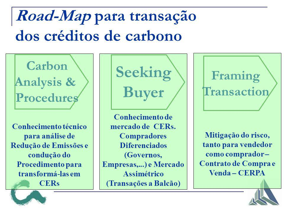 Road-Map para transação dos créditos de carbono Carbon Analysis & Procedures Seeking Buyer Framing Transaction Conhecimento técnico para análise de Redução de Emissões e condução do Procedimento para transformá-las em CERs Conhecimento de mercado de CERs.
