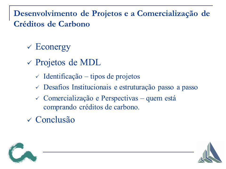 Desenvolvimento de Projetos e a Comercialização de Créditos de Carbono Econergy Projetos de MDL Identificação – tipos de projetos Desafios Institucionais e estruturação passo a passo Comercialização e Perspectivas – quem está comprando créditos de carbono.