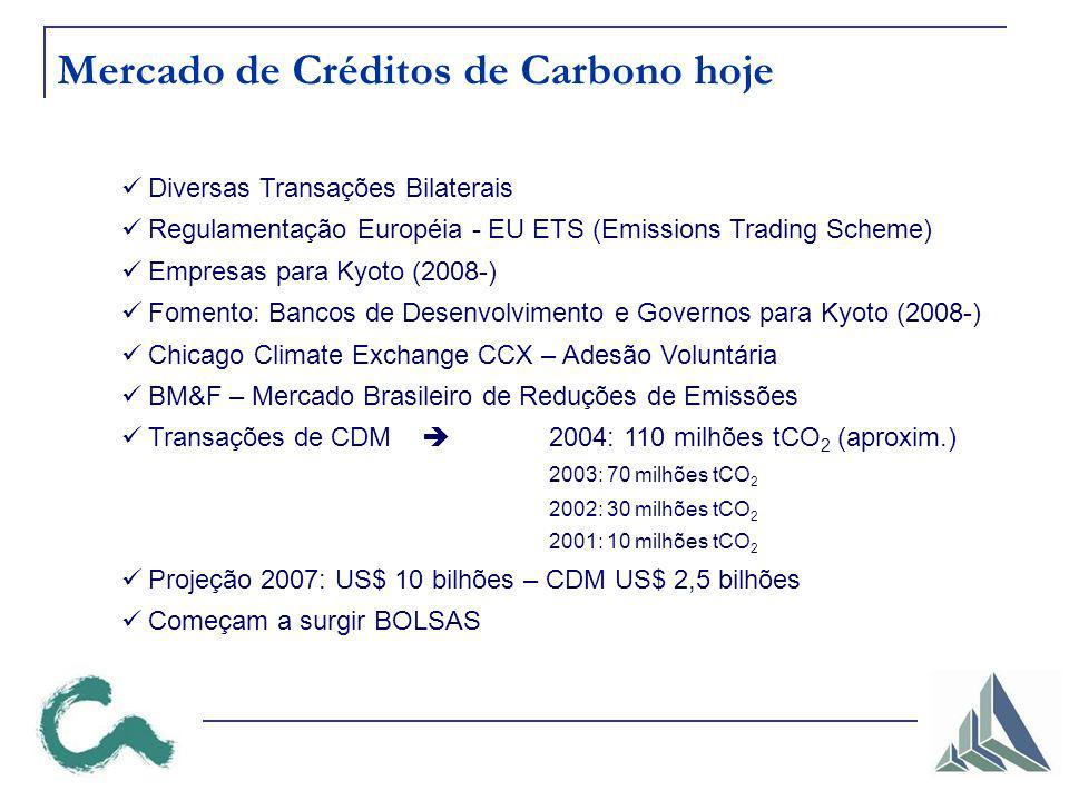 Mercado de Créditos de Carbono hoje Diversas Transações Bilaterais Regulamentação Européia - EU ETS (Emissions Trading Scheme) Empresas para Kyoto (2008-) Fomento: Bancos de Desenvolvimento e Governos para Kyoto (2008-) Chicago Climate Exchange CCX – Adesão Voluntária BM&F – Mercado Brasileiro de Reduções de Emissões Transações de CDM 2004: 110 milhões tCO 2 (aproxim.) 2003: 70 milhões tCO 2 2002: 30 milhões tCO 2 2001: 10 milhões tCO 2 Projeção 2007: US$ 10 bilhões – CDM US$ 2,5 bilhões Começam a surgir BOLSAS