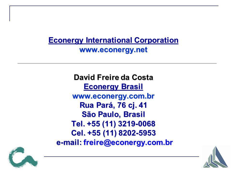 Econergy International Corporation www.econergy.net David Freire da Costa Econergy Brasil www.econergy.com.br Rua Pará, 76 cj. 41 São Paulo, Brasil Te