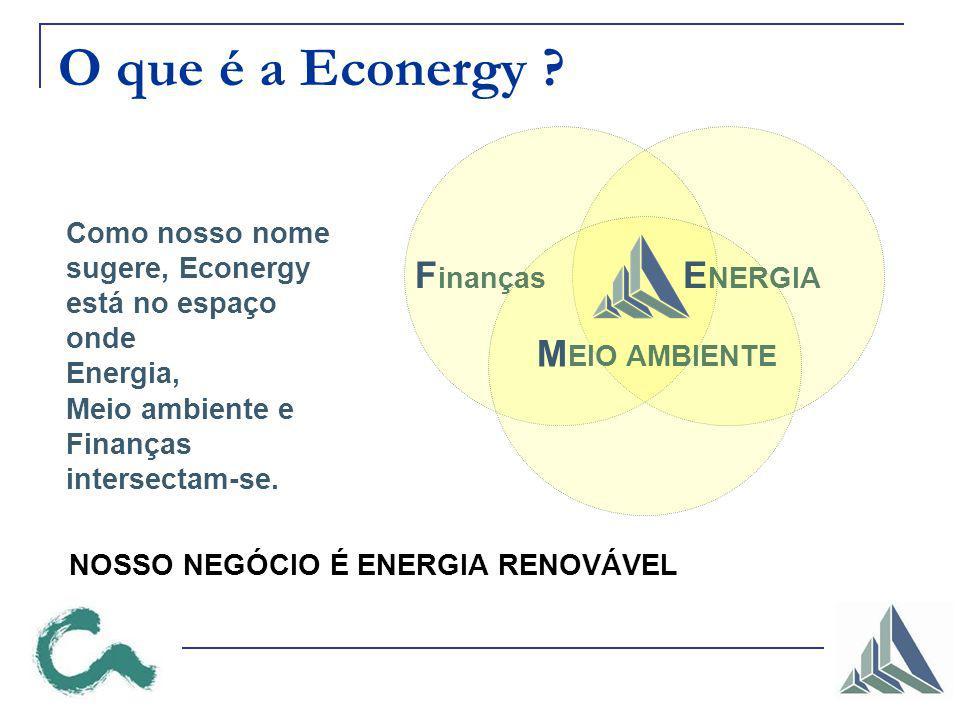 F inanças E NERGIA M EIO AMBIENTE O que é a Econergy ? Como nosso nome sugere, Econergy está no espaço onde Energia, Meio ambiente e Finanças intersec