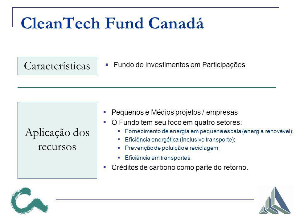 Pequenos e Médios projetos / empresas O Fundo tem seu foco em quatro setores: Fornecimento de energia em pequena escala (energia renovável); Eficiência energética (Inclusive transporte); Prevenção de poluição e reciclagem; Eficiência em transportes.
