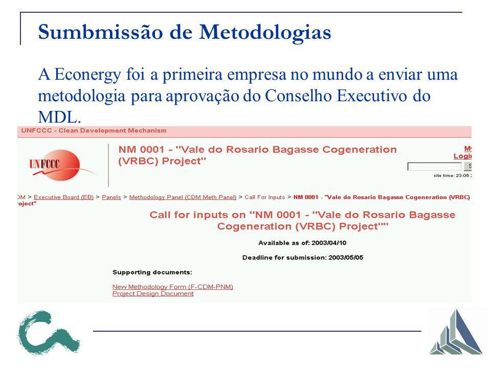 Sumbmissão de Metodologias A Econergy foi a primeira empresa no mundo a enviar uma metodologia para aprovação do Conselho Executivo do MDL.