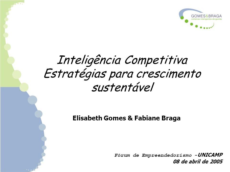 Inteligência Competitiva Estratégias para crescimento sustentável Elisabeth Gomes & Fabiane Braga Fórum de Empreendedorismo - UNICAMP 08 de abril de 2