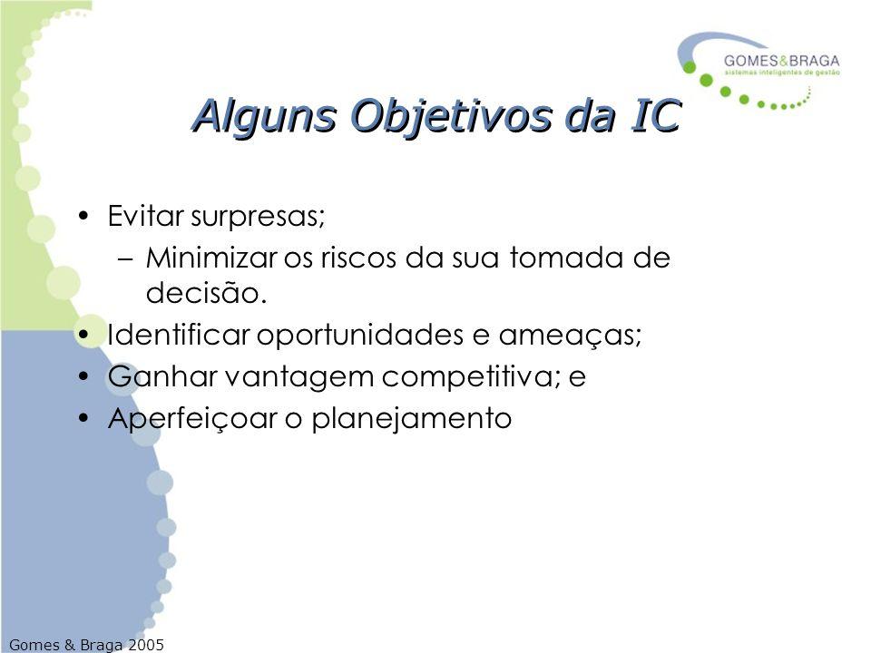 Gomes & Braga 2005 Alguns Objetivos da IC Evitar surpresas; –Minimizar os riscos da sua tomada de decisão. Identificar oportunidades e ameaças; Ganhar