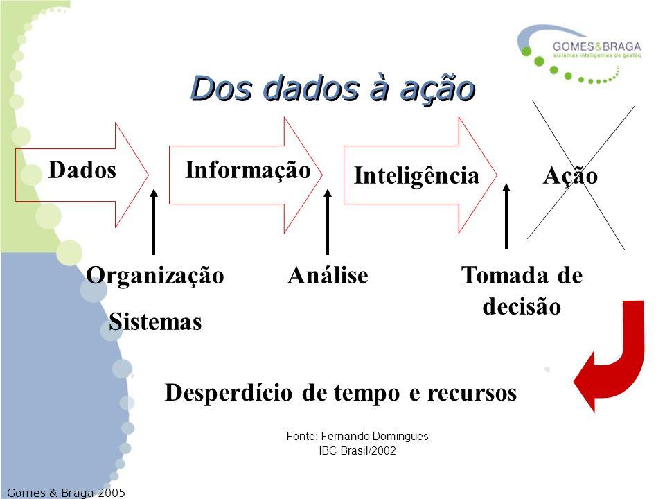 Gomes & Braga 2005 DadosInformação Inteligência Ação Organização Sistemas AnáliseTomada de decisão Desperdício de tempo e recursos Fonte: Fernando Dom