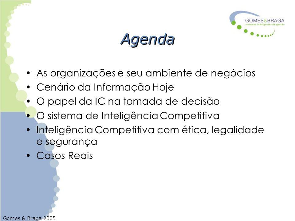 Gomes & Braga 2005 Agenda As organizações e seu ambiente de negócios Cenário da Informação Hoje O papel da IC na tomada de decisão O sistema de Inteli