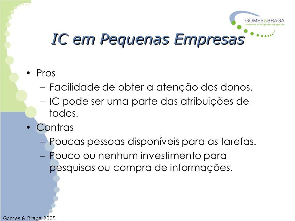 Gomes & Braga 2005 IC em Pequenas Empresas Pros –Facilidade de obter a atenção dos donos. –IC pode ser uma parte das atribuições de todos. Contras –Po