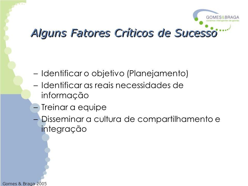 Gomes & Braga 2005 Alguns Fatores Críticos de Sucesso –Identificar o objetivo (Planejamento) –Identificar as reais necessidades de informação –Treinar