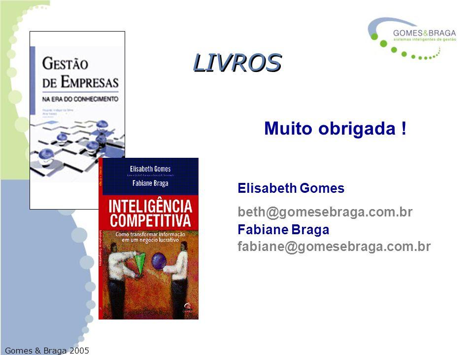 Gomes & Braga 2005 LIVROS Muito obrigada ! Elisabeth Gomes beth@gomesebraga.com.br Fabiane Braga fabiane@gomesebraga.com.br