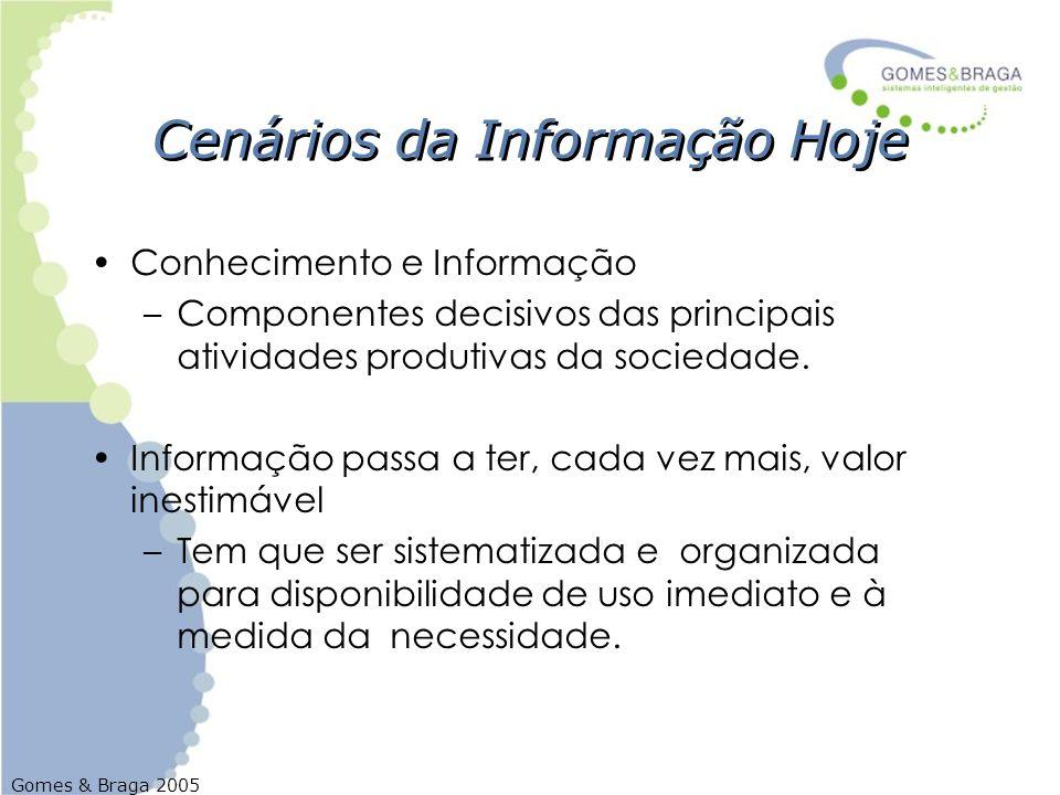 Gomes & Braga 2005 Cenários da Informação Hoje Conhecimento e Informação –Componentes decisivos das principais atividades produtivas da sociedade. Inf