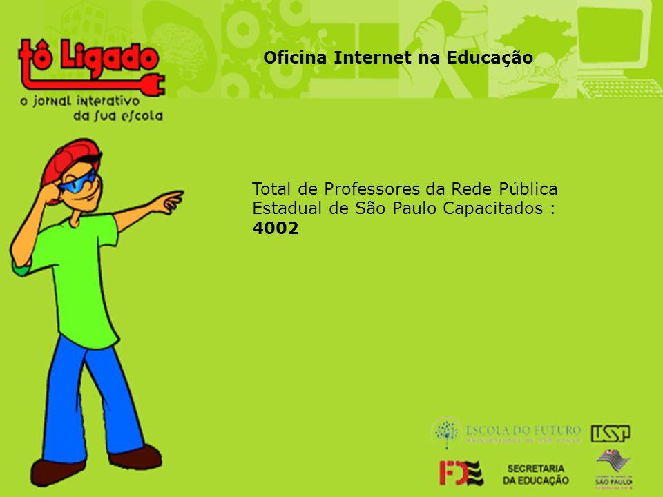 Total de Professores da Rede Pública Estadual de São Paulo Capacitados : 4002 Oficina Internet na Educação