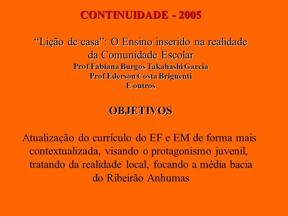 CONTINUIDADE - 2005 Lição de casa: O Ensino inserido na realidade da Comunidade Escolar Prof Fabiana Burgos Takahashi Garcia Prof Ederson Costa Brigue