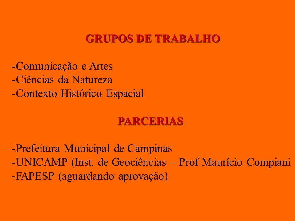 GRUPOS DE TRABALHO -Comunicação e Artes -Ciências da Natureza -Contexto Histórico Espacial PARCERIAS -Prefeitura Municipal de Campinas -UNICAMP (Inst.