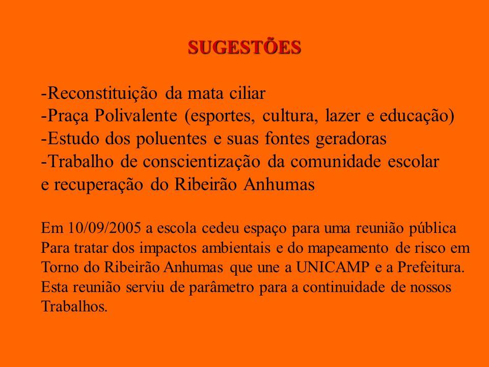 SUGESTÕES -Reconstituição da mata ciliar -Praça Polivalente (esportes, cultura, lazer e educação) -Estudo dos poluentes e suas fontes geradoras -Traba
