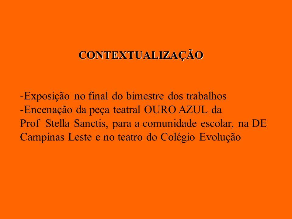 CONTEXTUALIZAÇÃO -Exposição no final do bimestre dos trabalhos -Encenação da peça teatral OURO AZUL da Prof Stella Sanctis, para a comunidade escolar,