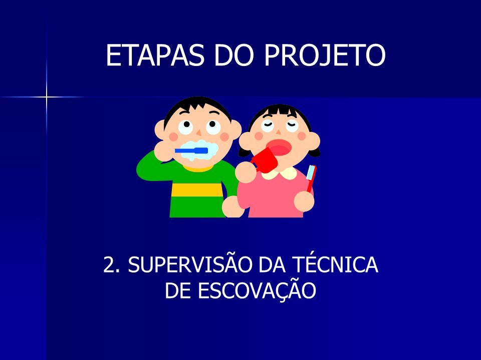 ETAPAS DO PROJETO 2. SUPERVISÃO DA TÉCNICA DE ESCOVAÇÃO