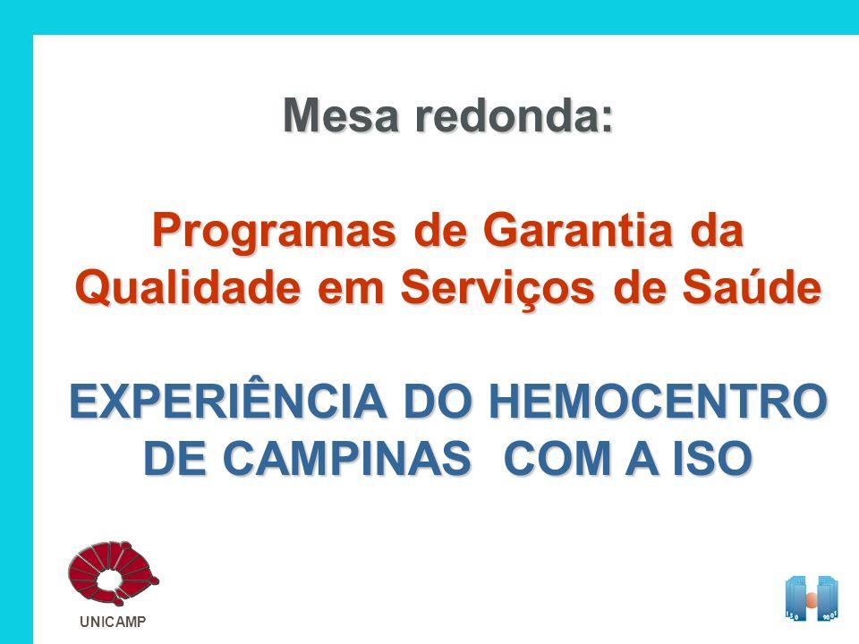 Mesa redonda: Programas de Garantia da Qualidade em Serviços de Saúde EXPERIÊNCIA DO HEMOCENTRO DE CAMPINAS COM A ISO UNICAMP