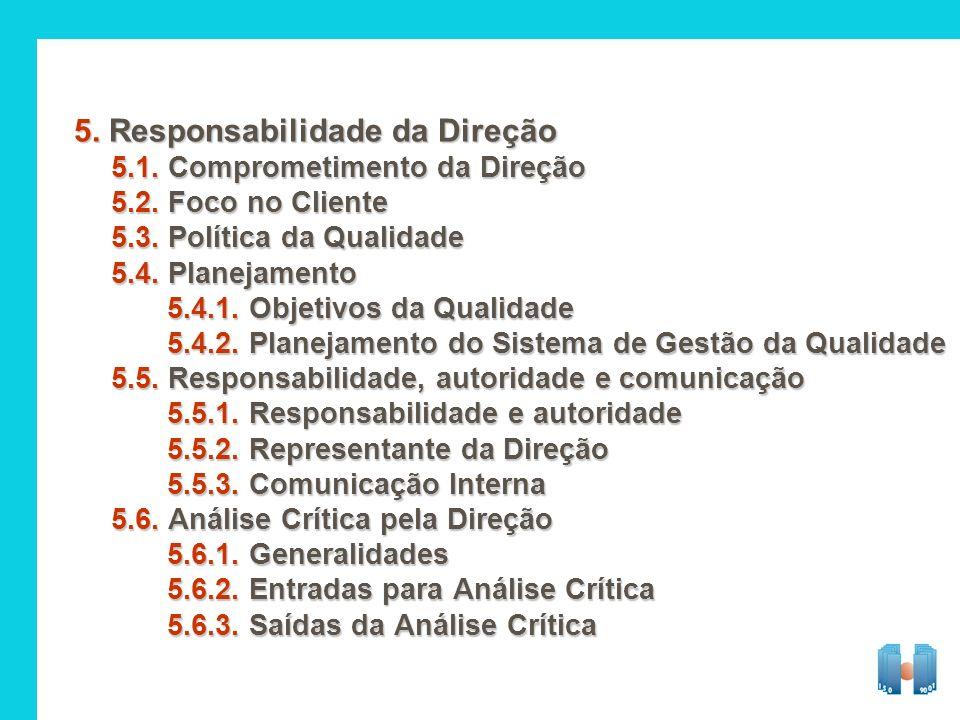 5. Responsabilidade da Direção 5.1. Comprometimento da Direção 5.2. Foco no Cliente 5.3. Política da Qualidade 5.4. Planejamento 5.4.1. Objetivos da Q