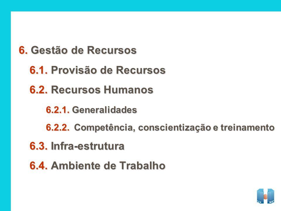 6. Gestão de Recursos 6.1. Provisão de Recursos 6.2. Recursos Humanos 6.2.1. Generalidades 6.2.2.Competência, conscientização e treinamento 6.3. Infra