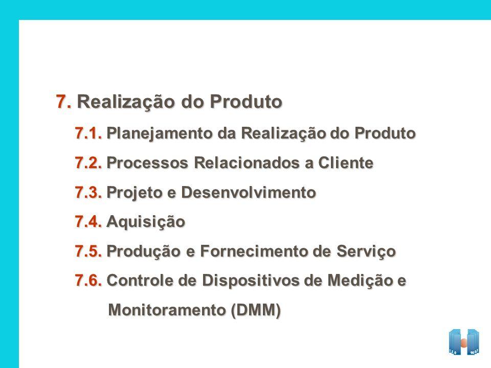 7. Realização do Produto 7.1. Planejamento da Realização do Produto 7.2. Processos Relacionados a Cliente 7.3. Projeto e Desenvolvimento 7.4. Aquisiçã