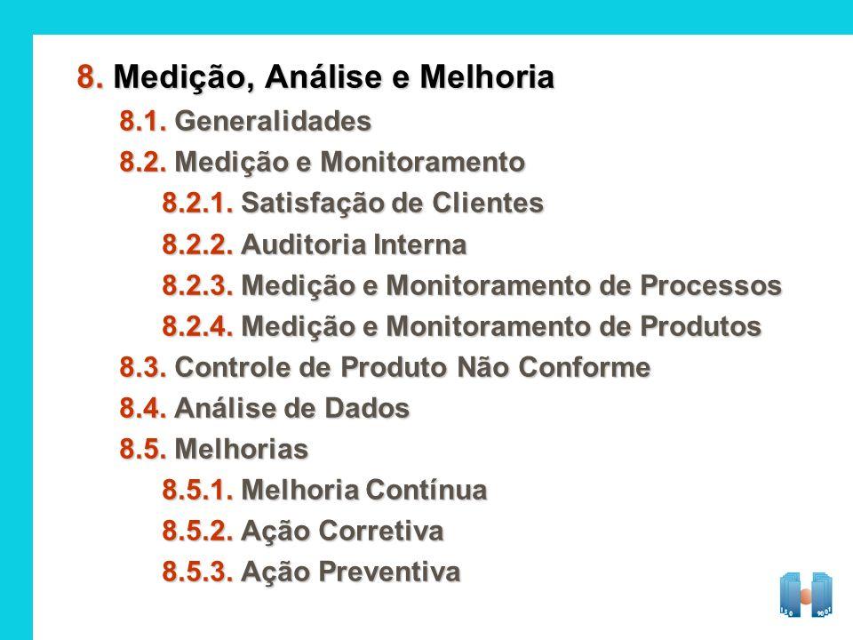 8. Medição, Análise e Melhoria 8.1. Generalidades 8.2. Medição e Monitoramento 8.2.1. Satisfação de Clientes 8.2.2. Auditoria Interna 8.2.3. Medição e