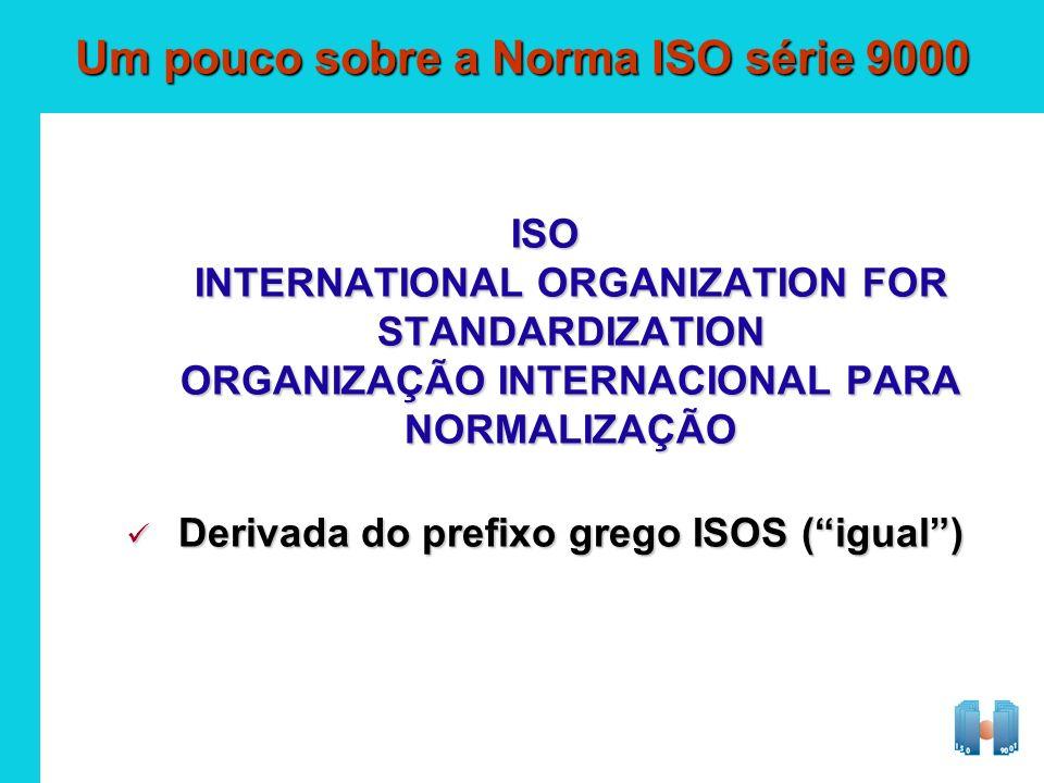 Derivada do prefixo grego ISOS (igual) Derivada do prefixo grego ISOS (igual) Um pouco sobre a Norma ISO série 9000 ISO INTERNATIONAL ORGANIZATION FOR