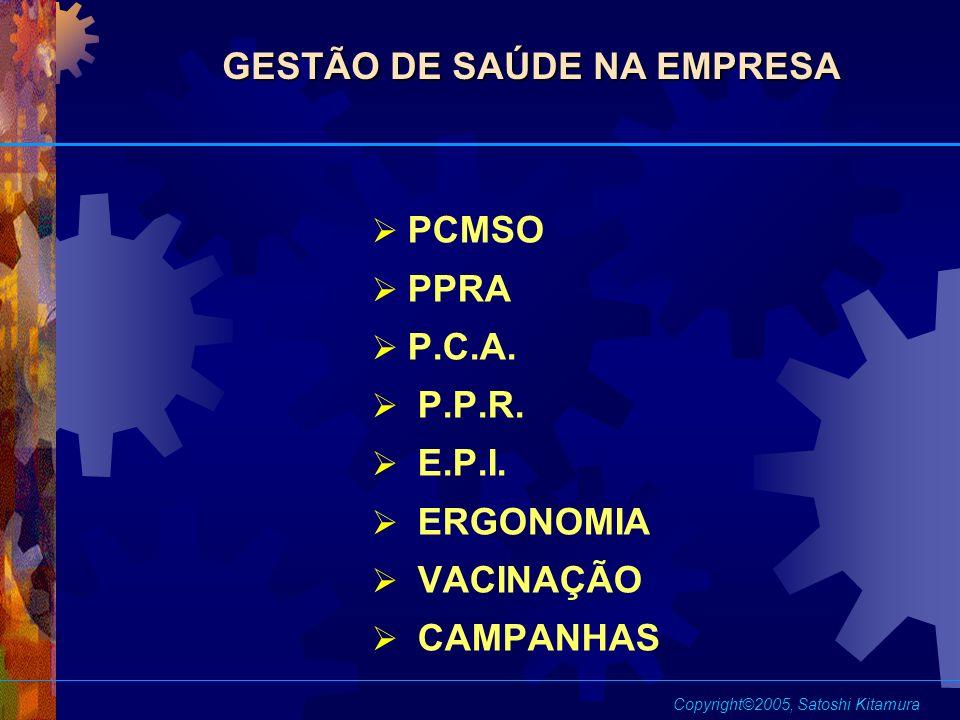 PCMSO PPRA P.C.A. P.P.R. E.P.I. ERGONOMIA VACINAÇÃO CAMPANHAS GESTÃO DE SAÚDE NA EMPRESA