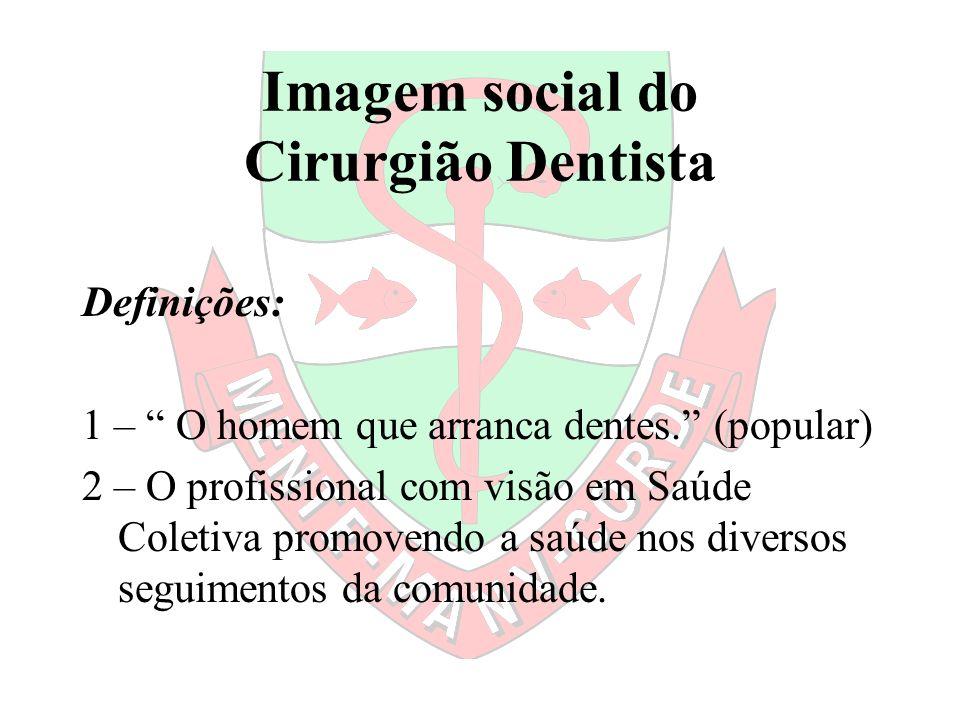 Imagem social do Cirurgião Dentista Definições: 1 – O homem que arranca dentes. (popular) 2 – O profissional com visão em Saúde Coletiva promovendo a