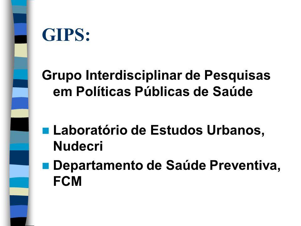 GIPS: Grupo Interdisciplinar de Pesquisas em Políticas Públicas de Saúde Laboratório de Estudos Urbanos, Nudecri Departamento de Saúde Preventiva, FCM