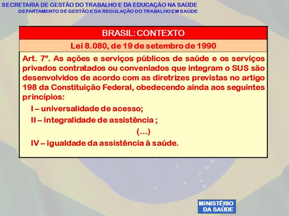 MINISTÉRIO DA SAÚDE SECRETARIA DE GESTÃO DO TRABALHO E DA EDUCAÇÃO NA SAÚDE DEPARTAMENTO DE GESTÃO E DA REGULAÇÃO DO TRABALHO EM SAÚDE BRASIL: CONTEXTO Lei 8.080, de 19 de setembro de 1990 Art.