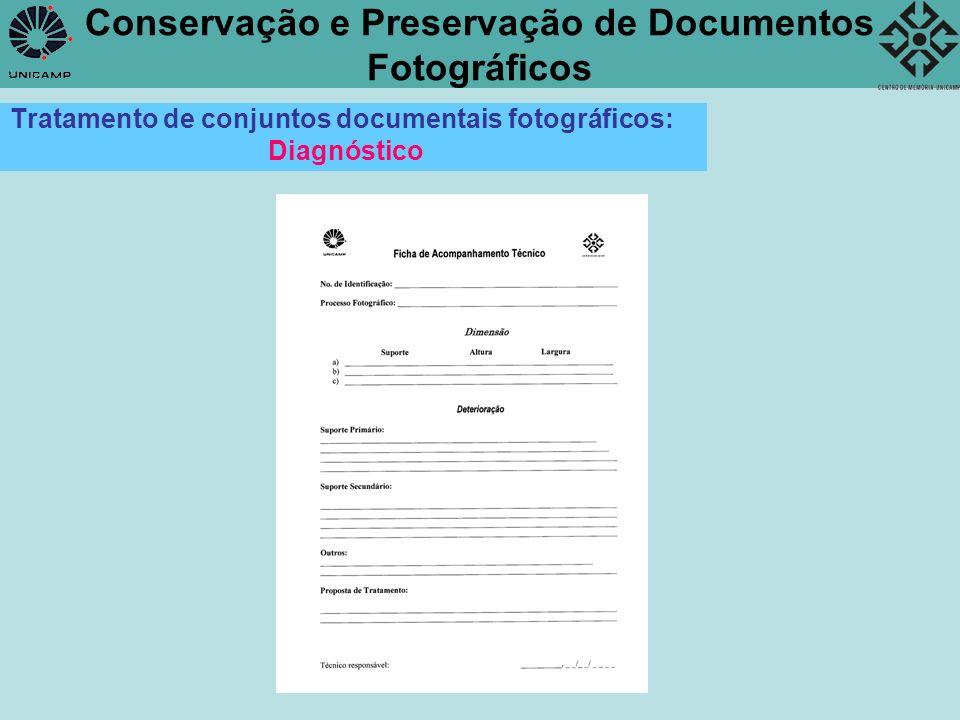 Conservação e Preservação de Documentos Fotográficos Ex 1 : Coleção Secretaria da Agricultura, Comércio e Obras Públicas do Estado de SP Etapas do Tratamento