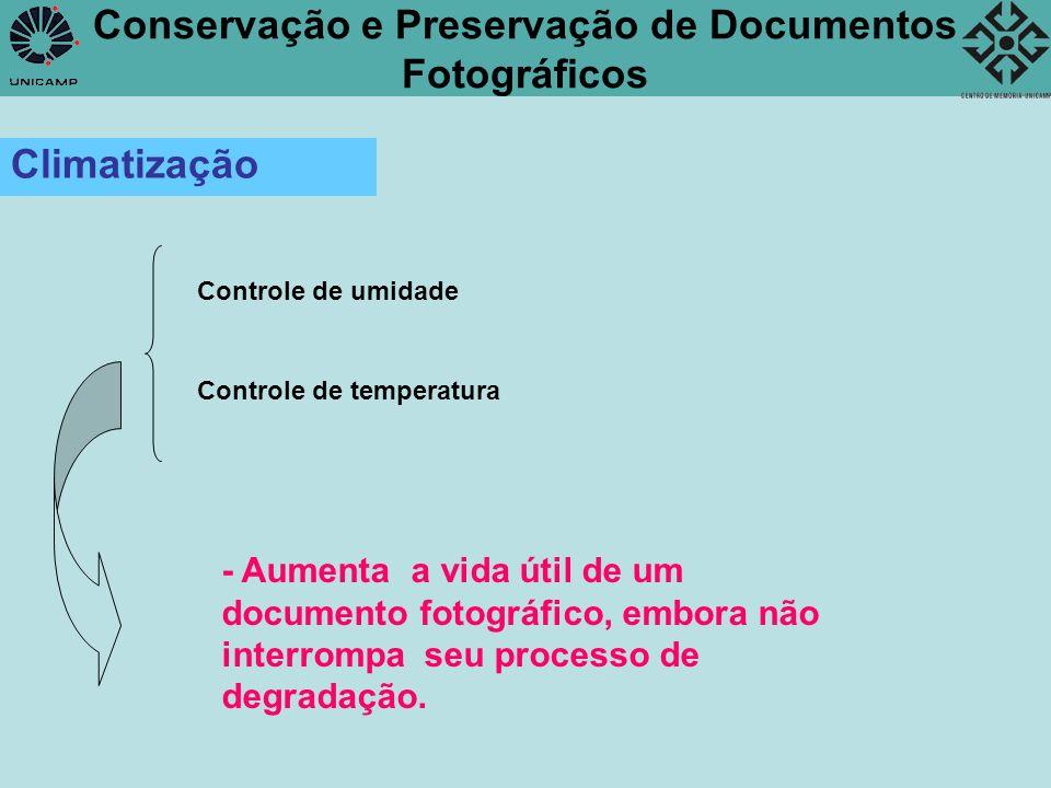 Conservação e Preservação de Documentos Fotográficos Climatização Controle de umidade Controle de temperatura - Aumenta a vida útil de um documento fo