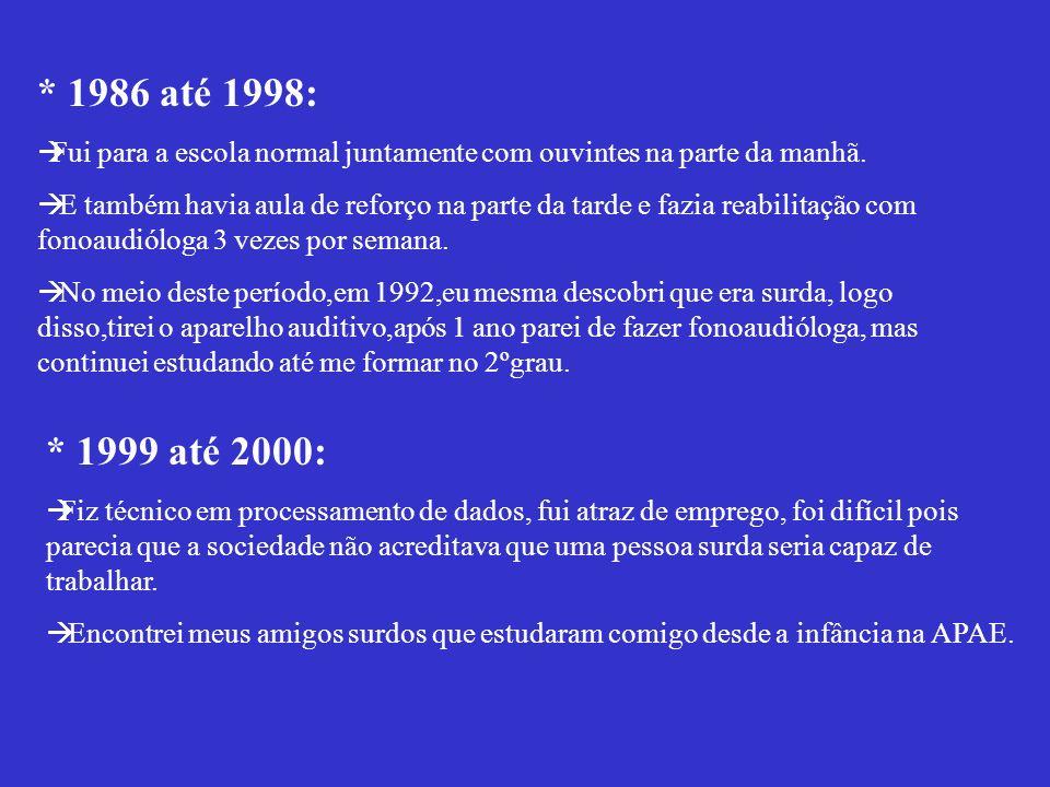 MINHA VIDA ESCOLAR * 1983 até 1984: Estudava na APAE na parte da tarde e fazia fonoaudióloga pela manhã. * 1985: Fui para a sala especial usava prótes