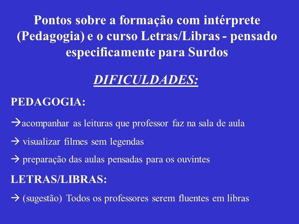 Ronice Quadros preparou e fundou o curso de Letras/Libras, e aqui no Brasil tem 9 pólos espalhados: Universidade Federal de Santa Catarina (UFSC) Inst