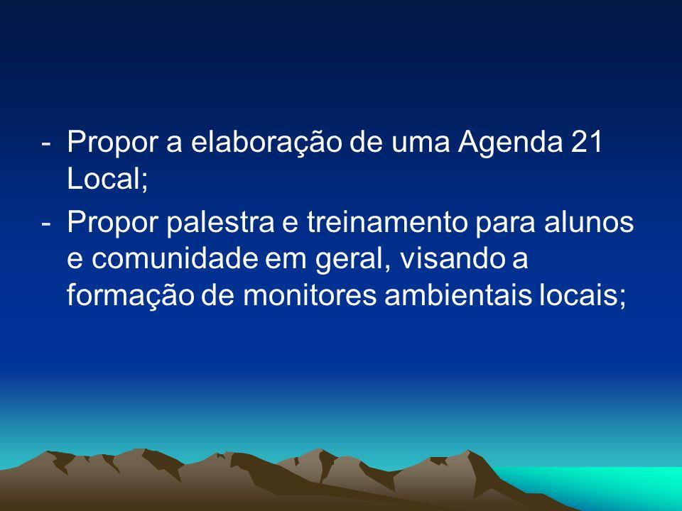 -Propor a elaboração de uma Agenda 21 Local; -Propor palestra e treinamento para alunos e comunidade em geral, visando a formação de monitores ambient
