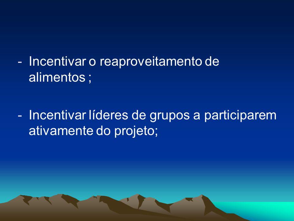 -Incentivar o reaproveitamento de alimentos ; -Incentivar líderes de grupos a participarem ativamente do projeto;