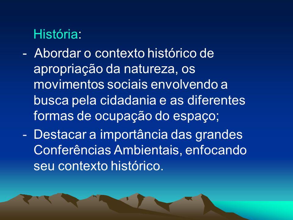 História: - Abordar o contexto histórico de apropriação da natureza, os movimentos sociais envolvendo a busca pela cidadania e as diferentes formas de