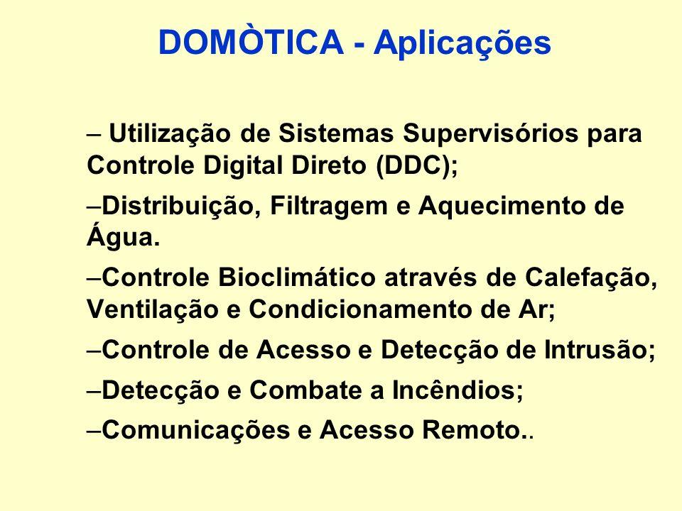 DOMÓTICA conjunto de subsistemas de automação que formam um único sistema integrado de serviços, abrangendo as áreas de: –Distribuição de Energia Elét