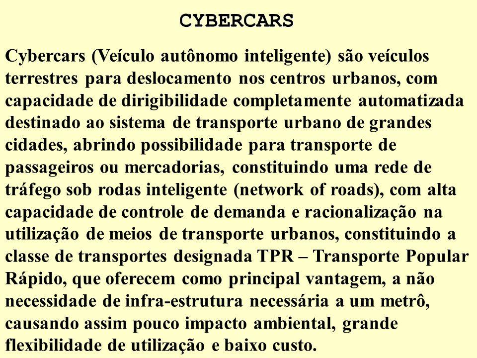 CYBERCARS Os Cybercars surge como uma solução alternativa relativa à utilização de veículos particulares com flexibilidade e racionalização de utiliza