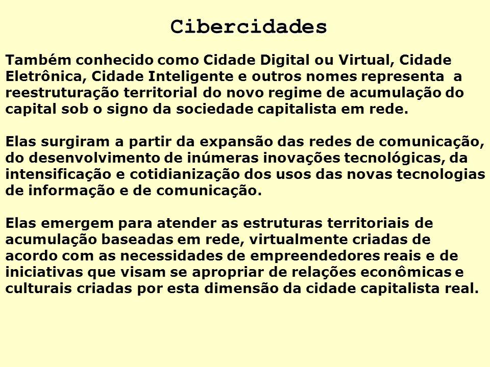 Cibercidades Também conhecido como Cidade Digital ou Virtual, Cidade Eletrônica, Cidade Inteligente e outros nomes representa a reestruturação territo