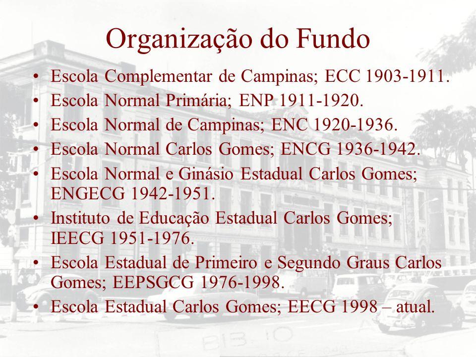 Organização do Fundo Escola Complementar de Campinas; ECC 1903-1911. Escola Normal Primária; ENP 1911-1920. Escola Normal de Campinas; ENC 1920-1936.