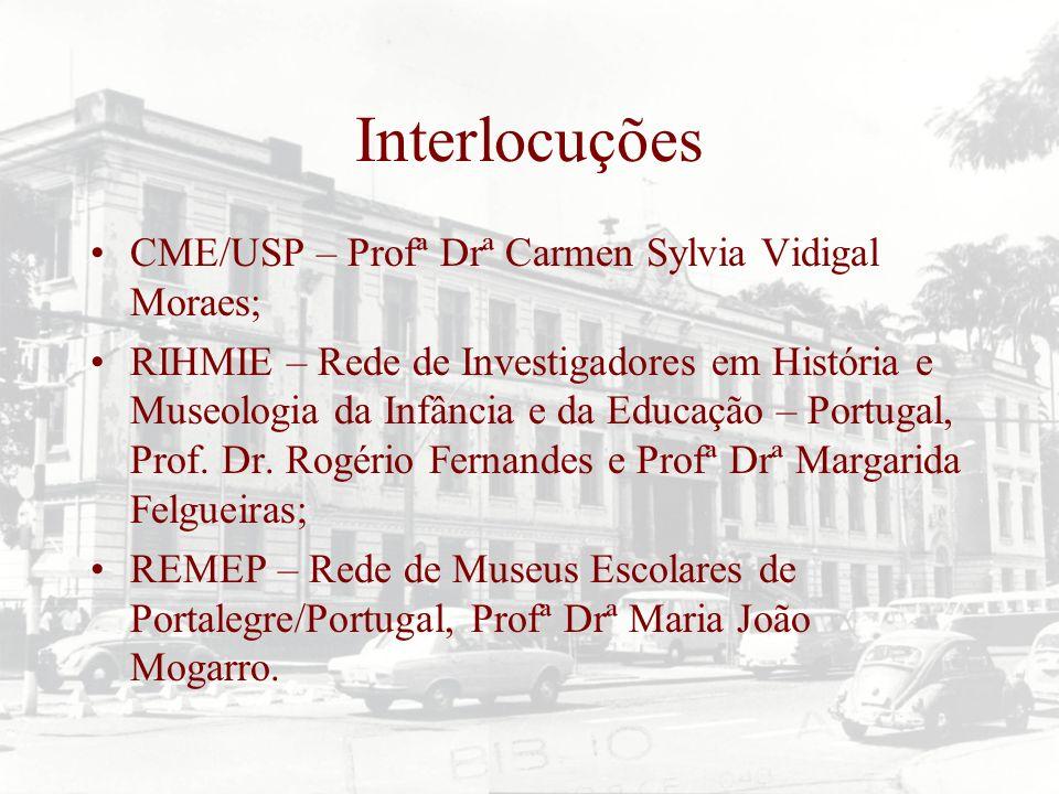 Interlocuções CME/USP – Profª Drª Carmen Sylvia Vidigal Moraes; RIHMIE – Rede de Investigadores em História e Museologia da Infância e da Educação – P