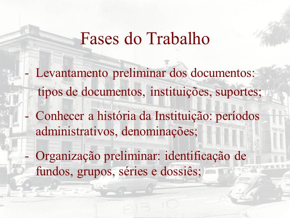 Fases do Trabalho -Levantamento preliminar dos documentos: tipos de documentos, instituições, suportes; -Conhecer a história da Instituição: períodos