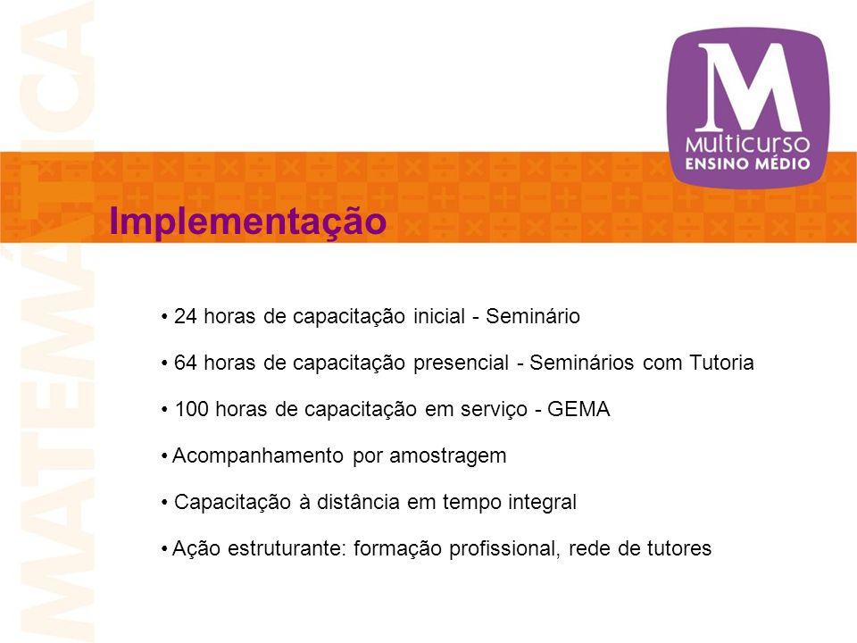 Implementação 24 horas de capacitação inicial - Seminário 64 horas de capacitação presencial - Seminários com Tutoria 100 horas de capacitação em serv