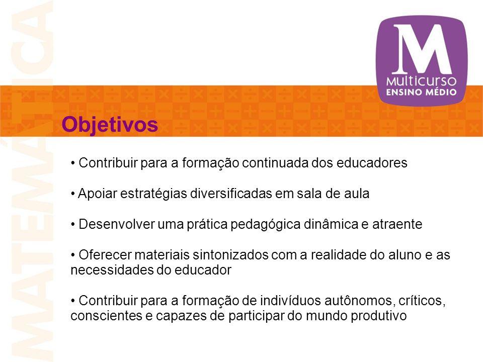 Objetivos Contribuir para a formação continuada dos educadores Apoiar estratégias diversificadas em sala de aula Desenvolver uma prática pedagógica di