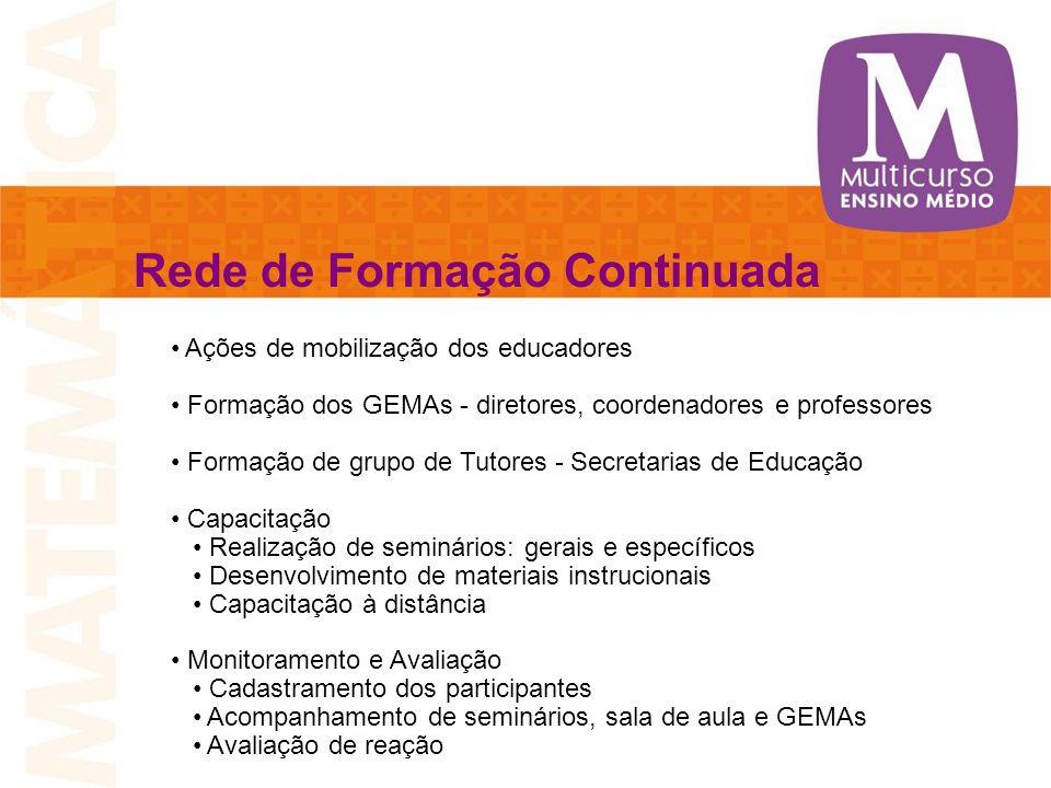 Rede de Formação Continuada Ações de mobilização dos educadores Formação dos GEMAs - diretores, coordenadores e professores Formação de grupo de Tutor