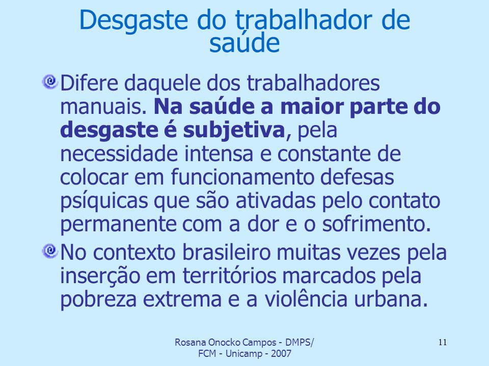 Rosana Onocko Campos - DMPS/ FCM - Unicamp - 2007 11 Desgaste do trabalhador de saúde Difere daquele dos trabalhadores manuais. Na saúde a maior parte