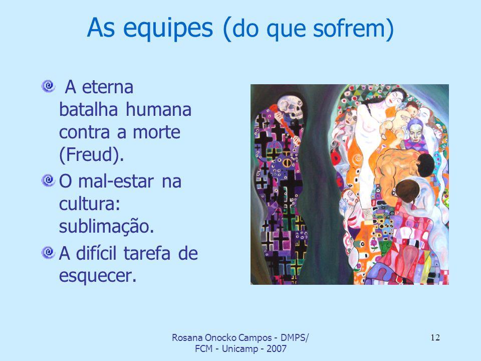 Rosana Onocko Campos - DMPS/ FCM - Unicamp - 2007 12 As equipes ( do que sofrem) A eterna batalha humana contra a morte (Freud). O mal-estar na cultur